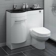 Combined Bidet Toilets Luxury Bathroom Furniture Design With White Stained Wooden Vanity