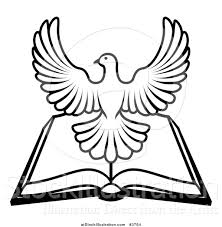 vector illustration of a black and white holy spirit dove over an