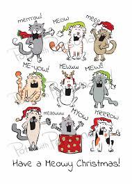 meowy christmas items similar to printable christmas card 02 cat theme meowy
