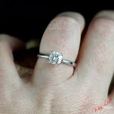 cushion solitaire engagement rings forever one moissanite cushion cut solitaire engagement ring
