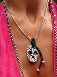 jewelry leather necklace images Leather necklace quot skull sugar quot beau soleil jewelry jpg