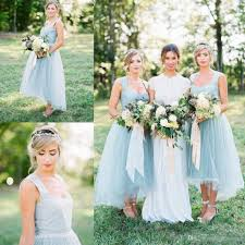 ice blue country bridesmaid dresses 2017 new arrival square neck