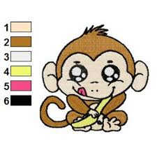 monkey baby embroidery design