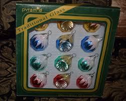 pyramid traditional glass decorative ornaments nib small trees