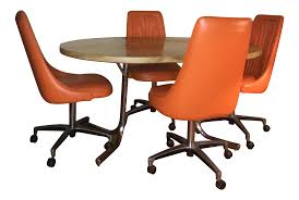 orange chromcraft table u0026 chairs set chairish