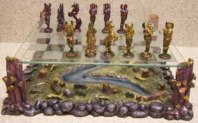 lionheart designs international pewter fairies chess set pieces