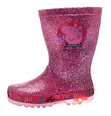 peppa pig light up wellington boots lights glitter