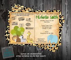 safari passport jungle baby animals baby shower invitation