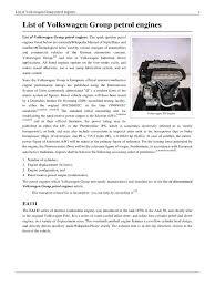 list of volkswagen group petrol engines internal combustion