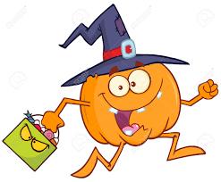 halloween basket divertido bruja calabaza de dibujos animados que se ejecuta con un
