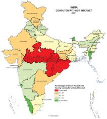 India Map With Cities by State Wise Internet Users In India Census 2011