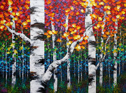 beautiful aspen trees and birch trees painting by contemporary