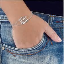 monogram initial bracelet custom monogram initial bracelet silver chain bracelets for