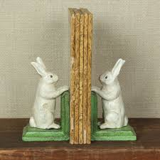 homart bunny bookends cast iron white areohome