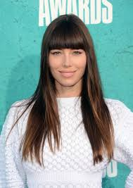 chin length hairstyles for ethnic hair hairstyle jessica biel straight across bangs long hair chin