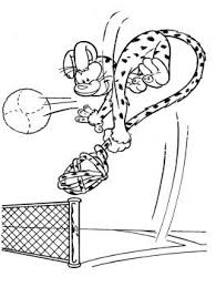 marsupilami playing volleyball coloring kids coloring pages