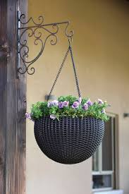 keter round resin hanging planters 2pk all weather plastic