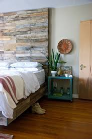 bedroom dark ambience reclaimed wood accent wall traditional