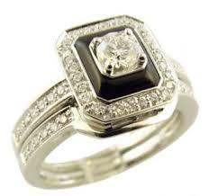 14k white gold art deco style onyx u0026 50cttw diamond engagement