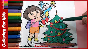 dora and boots christmas coloring pages christmas tree xmas