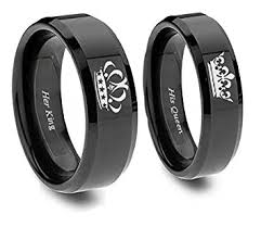 black wedding rings his and hers king and ring set in blacktitanium his and