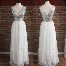silver sequin bridesmaid dresses bridesmaid dress v neck sequin chiffon prom dress
