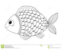 coloring book with fish stock vector image 69739620