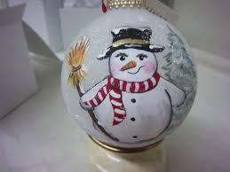 satin glass ornament keepsake snowman with broom by