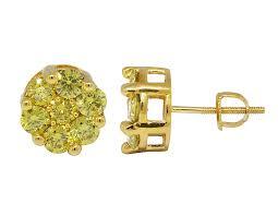 real earrings 10k yellow gold 13mm halo flower shape canary diamond stud earring