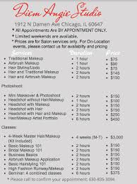 makeup artist classes chicago bucktown chicago hair and makeup salon diem angie studio rates