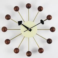 Home Decor Walmart George Nelson Walnut Ball 13 In Wall Clock Decor Walmart Com