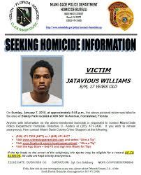 Seeking Miami Seeking Information On 1 7 18 Jatavious Williams Was Killed In