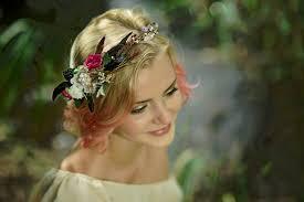 flower for hair wedding bridal floral crown flower hair wreath white pink green