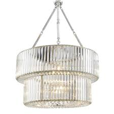 Crystal Glass Chandelier Eichholtz Infinity Double Chandelier Brass Nickel Finish Crystal