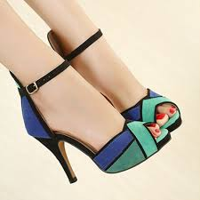 women ladies high block heels ankle strappy peep toe sandals party