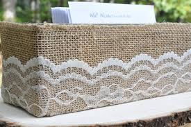 burlap wedding programs burlap and lace wrapped box wedding program holder rustic