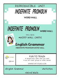 indefinite pronouns all each many word wall teacherlingo com