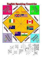 english speaking countries ii fortune teller b u0026w fully editable