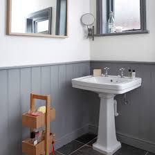 grey and white panelled bathroom bathroom decorating style at
