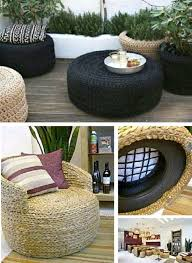 Upcycle Crafts - old tire ottoman super easy diy video tutorial tire ottoman