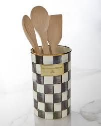 kitchen utensil canister mackenzie childs courtly check utensil holder