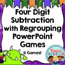 four digit subtraction with regrouping games 4 monster themed