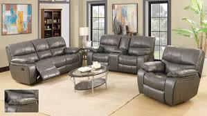 Grey Recliner Sofa 7734 Reclining Sofa In Grey Leatherette W Options