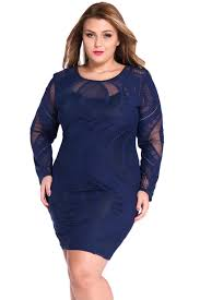 royal blue lace illusion long sleeves bodycon dress