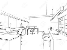 outline sketch drawing perspective of a interior space royalty