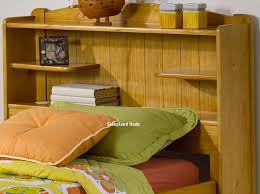 single pine bed frame with bookcase storage headboard honey pine