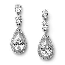 wedding earrings drop usabride earrings silver plated cubic zirconia tear