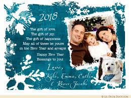 new year photo cards snowflakes family new year card 2018 photo blessings