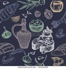 mediterranean cuisine seamless pattern includes hand stock vector