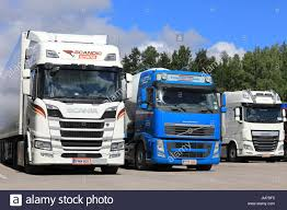 truck volvo 2017 salo finland july 22 2017 scania r500 volvo fh and daf xf
